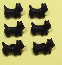 6 x SCOTTIE DOG BUTTONS - Novelty Buttons - Black Dog Buttons- Crafts Sewing