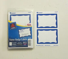 100 AVERY DENNISON BLUE BORDER BADGES NAME TAGS ID LABELS ADHESIVE PEEL LABEL