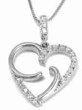 SOLID 14K WHITE GOLD SPARKLY CLEAR CZ FANCY SHINY HEART PENDANT 14.3MM