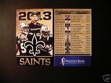 New Orleans Saints 2013 NFL pocket schedule - Brees & Payton