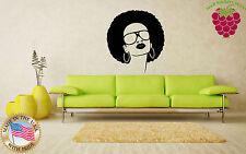 Wall Stickers Vinyl Decal Hot Black Hippie Girl Sunglasses Beauty Salon EM568