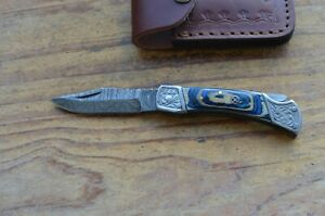 damascus custom made folding pocket knife From The Eagle Collection Z582333