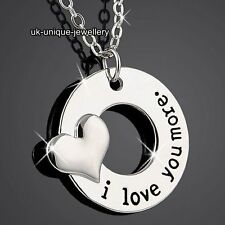 BLACK FRIDAY Engraved I Love You Necklace Heart Silver Xmas Gifts For Her Women