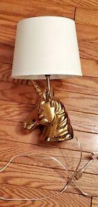 Gold Unicorn Table Lamp Desk  Lights Bedroom Bedside Lighting Fixtures w/Shade
