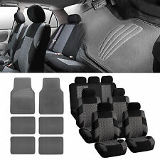 3Row Gray Black Seat Covers for 7 Seaters SUV Van with Gray Floor Mats