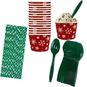 Christmas Ice Cream Sundae Kit - 8 Ounce Red and White Snowflake Paper Treat Cup