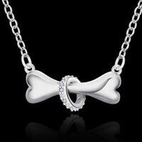 925 charms lady Silver Bone crystal Fashion Cute Pretty women Necklace Jewelry