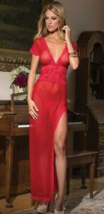 Celino Sexy Red Sleepwear for Women - See Thru Lace 1 Piece Nightwear Lingerie