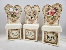 Vintage-style Boxes Of Love Valentine Love Figurines Set of 3 New Floral Art