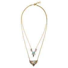 NEW Stylish Anthropologie Meigan Teal Bead Seashell Double Loop Necklace