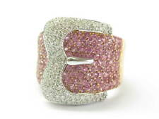 Pink Sapphire & Diamond Buckle Ring 18Kt Rose Gold 3.42Ct