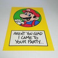 "Vintage Super Mario Brothers Greeting Card Nintendo 1989 ""Glad I Came"""
