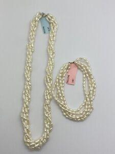 "14K Gold Clasp 5 Strand Freshwater 18"" Necklace and Bracelet Set"