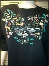 """SHENANIGAN'S Black Cotton Knit Top (M) Jungle Scene Colorful Embroidery 45"""" bust"""