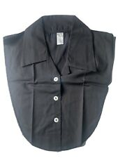womens detachable dickie collar black button down collared new