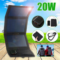20W Dual USB Solar Panel Foldable Power Bank Panel Camping Hiking Phone  0 3