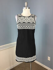Max Studio Anthropologie XS Black White Embroidred Shift Dress Casual Party cute