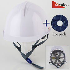 New Safety Helmet Hard Hat Cooling Fan Air Cooler Battery White + Ice pack
