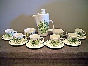 Vintage Royal Worcester Palissy Orchid Pattern Complete Coffee Service (for Six)