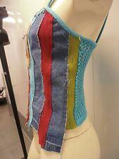 denim top ladies sexy 90s patchwork materials tank new/tags brazil d.viller mesh