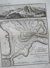 1700 S INCISIONE MAPPA MONT cirphis Delphes Greece VIAGGIO DI ANACARSI JEUNE