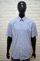Camicia a Righe Uomo HUGO BOSS Taglia 45 Camicetta Manica Corta Maglia Shirt Man