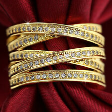 9K YELLOW GOLD GF SIMULATED DIAMOND DRESS COCKTAIL LADY BRIDAL WEDDING BAND RING