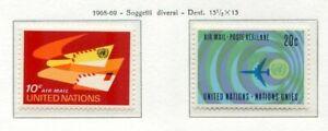 19126) UNITED NATIONS (New York) 1968/9 MNH** Nuovi** Air Mail 2v