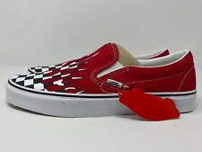 Vans Classic Slip On Checker Flame Racing Red Men's Size 10.5 No Box Lid