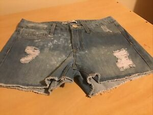 Ladies Faded And Torn Blue Denim Shorts Size XS (6 - 8) New