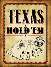 Texas Hold 'Em Vintage Metal Sign, Cards, Poker Chip, Gaming, Game Room