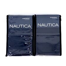 Nautica Seaward Twill Cotton Blue Square Euro Pillow Sham Set Of Two