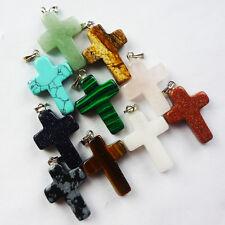 J0018987 Unique 10Pcs Mixed Gemstone Cross Pendant Bead (Send Randomly)