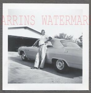 Vintage Car Photo Man w/ New 1964 Buick w/ 1955 Buick Hubcaps on Wheels 702449