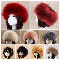 Women Lady New Russian Fluffy Faux Fox Fur Hat Headband Winter Warm Raccoon Cap