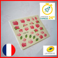 💅 LOT DE 2 NAIL ART ROSE FLEUR - MANUCURE ONGLES DECO - STICKER AUTOCOLLANT