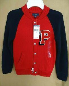 NEW Polo Ralph Lauren Boys Cardigan Sweater Collegiate P Size 3,5,6,7 Red/Navy