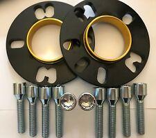 2 X 10mm BIMECC BLACK HUB SPACERS + 10 X M14X1.5 TUNER BOLTS FITS VW 5X100 57.1