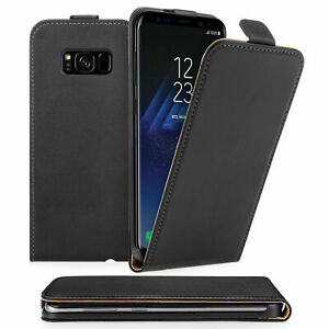 BLACK REAL Leather Flip Case Cover for Samsung Galaxy S9 PLUS UK FAST FREE POST