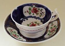 Gaudy Welsh cobalt blue design vintage Victorian antique cup & saucer duo