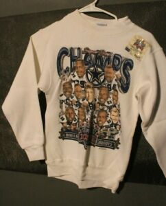 Vintage NEW OLD STOCK DALLAS COWBOYS SUPER BOWL SWEATSHIRT SMALL TEAM CARICATURE