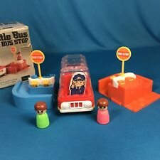 Vintage Toy Sears Hustle Bustle Bus Stop Great 2 Go W Fisher Price Little People