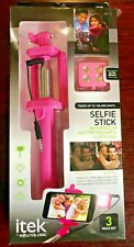 Itek by Soundlogic Selfie-Stick with Built in Shutter Release & 4 LED Flash NEW