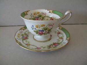 """VINTAGE SHELLEY GREEN """"DUBARRY"""" CUP AND SAUCER"""