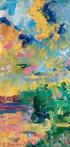 Desert Oil Painting Impressionism LANDSCAPE Texture Collectable Vertical