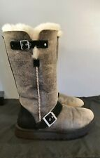 UGG CLASSIC TALL DYLYN BLACK JACKET MOTO BOMBER BUCKLES SHEEPSKIN WOMEN BOOTS 7