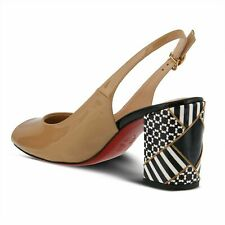 SPRING STEP AZURA SALENA SLINGBACK BLACK OR TAN W/ RED SOLE HEELED SANDAL