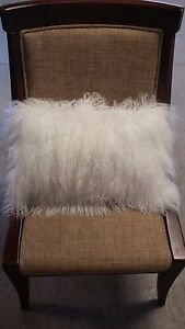 "Handmade Mongolian Fur 12""x20"" Rectangle White Pillow Cushion Case & fabric back"