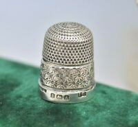 Antique 1925 Sterling silver Thimble Size 16 Art Deco Diamond cut design #O305