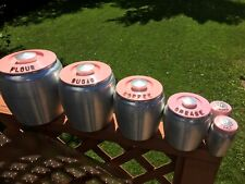 Vintage Kromex Canister Set PINK Lids Metal With Salt And Pepper Shakers